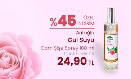 Arifoğlu Gül Suyu Cam Şişe Sprey 100 ml - %45 İNDİRİM - 24,90 TL