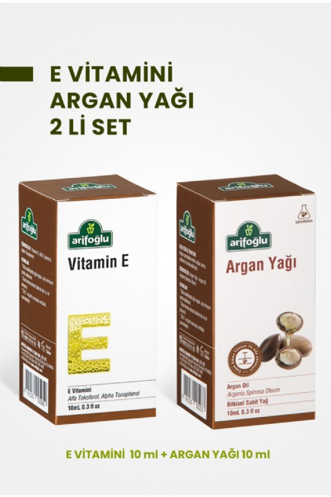 Arifoğlu E Vitamini 10ml + Argan Yağı 10ml 2 Li Set